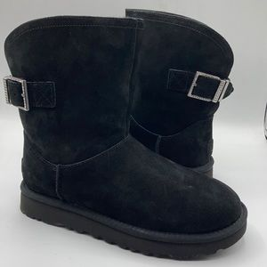 UGG Remora Black Suede Crystal Wool Boots